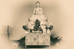 Buddhist Symbols with vintage effect. In black and white Stock Images