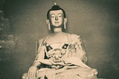 Buddhist Symbols with vintage effect. In black and white Royalty Free Stock Photography