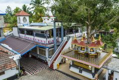 Buddhist temle buildings  located in the school. In Weligama town in Sri Lanka stock photo