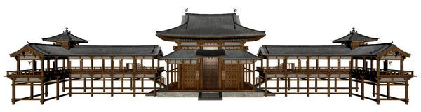 Buddhist temple. 3D rendered buddhist temple on white background isolated Royalty Free Stock Images