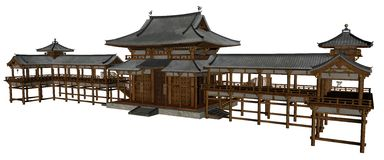Buddhist temple. 3D rendered buddhist temple on white background isolated Stock Image
