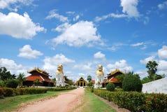 Buddhist temple. Walk way of buddhist temple with brighten sky Stock Photo