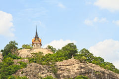 Buddhist temple. On mountain and sky stock images