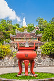 Buddhist temple. And a statue in Saigon. Vietnam Royalty Free Stock Photo