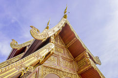 Buddhist Temple Art with Naga Structure on Gable Royalty Free Stock Photography