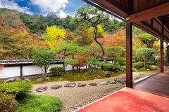 Buddhist Temple Autumn Garden. The garden from Shoryaku-ji Temple in Nara, Japan Stock Photo