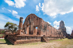 Buddhist temple in Ayutthaya. Ruins of ancient temple of Wat Ratchaburana, the old capital of Thailand, Ayutthaya Royalty Free Stock Photos
