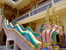 Buddhist temple, Bangkok, Thailand. Detailed snakes on the stairs of a Buddhist temple, Bangkok, Thailand Royalty Free Stock Photography