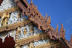 Buddhist temple, Bangkok, Thailand. Buddhist temple under a blue sky, Bangkok, Thailand Royalty Free Stock Photography