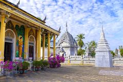 Buddhist temple in Battambang, Cambodia. A Buddhist temple in a large square in downtown Battambang, Cambodia royalty free stock images