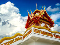 Buddhist  temple blue sky and heap white cloud Royalty Free Stock Image