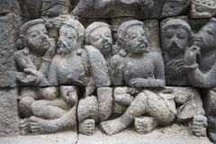 Buddhist temple of Borobudur, Stone reliefs, Java Royalty Free Stock Images
