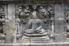 Buddhist temple of Borobudur, Stone reliefs, Java Stock Images