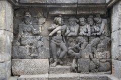 Buddhist temple of Borobudur, Stone reliefs, Java Royalty Free Stock Image