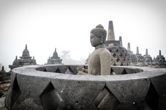 Buddhist Temple Borobudur Taken at Sunrise. Yogyakarta, Indonesi Royalty Free Stock Photo