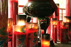 Buddhist temple candles Royalty Free Stock Photos