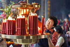 Buddhist Temple Candles Royalty Free Stock Photography