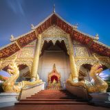 Buddhist temple Chiang Mai with dragons, Thailand. Colorful Buddhist temple Chiang Mai with dragons at the entrance, Thailand Royalty Free Stock Photo