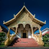 Buddhist temple Chiang Mai with dragons, Thailand. Colorful Buddhist temple Chiang Mai with dragons at the entrance, Thailand. Clipping path of sky royalty free stock photography