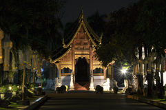 Buddhist temple in Chiang Mai by night Royalty Free Stock Images