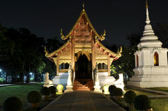 Buddhist temple in Chiang Mai by night Royalty Free Stock Photos