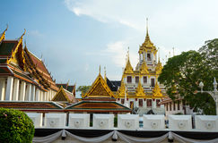 Buddhist temple complex,Loha Prasat know as Metal Castle at evening Stock Image