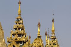 Buddhist temple complex Shwedagon is a historical symbol of Buddhism, Myanmar. Buddhist temple complex Shwedagon is a historical symbol of Buddhism, Yangon royalty free stock photography