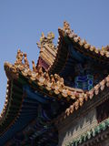Buddhist Temple Corner. Closeup of the corner of roofs in a Buddhist temple in Hohhot, Inner Mongolia, China Stock Image
