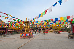 Buddhist temple courtyard Stock Photo