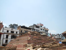 Buddhist temple damaged by earthquake at Durbar Square, Kathmandu Stock Photo