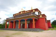 Buddhist temple Dhagpo Kundreul Ling in perspective stock photo