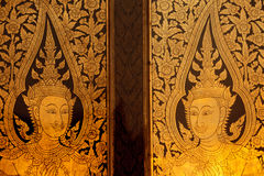 Buddhist temple door Stock Images