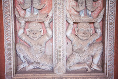 Buddhist temple door decoration in the capital of Vientiane, Stock Photography