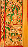 Buddhist temple door sculpture Royalty Free Stock Images