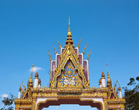 Buddhist temple gate's gable with ornament tiered Royalty Free Stock Photos