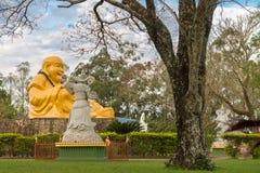 Buddhist temple with giant Buddha statue in Foz do iguacu. Foz do Iguazu, Brazil - july 8, 2016: The Buddhist temple with giant Buddha statue in the garden at Stock Image