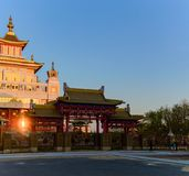 Buddhist temple Golden Abode of Buddha Shakyamuni in Elista, Republic of Kalmykia, Russia.  stock photo