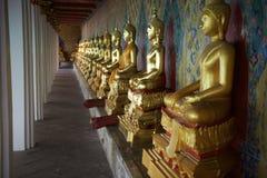 Buddhist Temple Golden Buddhas Bangkok Thailand Stock Image