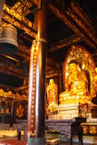 Buddhist Temple. Golden figure of Buddha. Royalty Free Stock Image