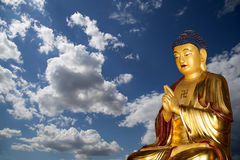 Buddhist Temple. Golden statue of Buddha-- southern Xian Stock Image