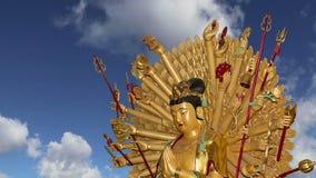Buddhist Temple. Golden statue of Buddha-- southern Xian Sian, Xi`an, Shaanxi province, China stock video