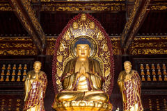 Buddhist Temple. Golden statue of Buddha--  Xian (Sian, Xi'an), China Stock Photos