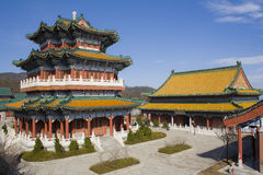 Buddhist temple at the Heavenly Mountain. Royalty Free Stock Photography