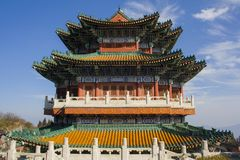 Buddhist temple at the Heavenly Mountain. Royalty Free Stock Photos