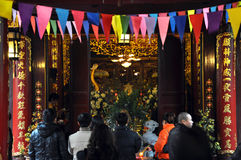 Buddhist temple interior in Hanoi, Vietnam Royalty Free Stock Photo