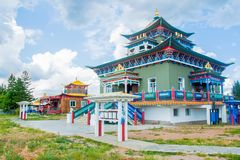 Buddhist temple in Ivolginsky datsan. royalty free stock images