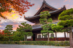 Buddhist temple in Kyoto during autumn season Royalty Free Stock Photos