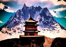Buddhist temple in mountains Stock Photos