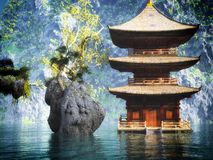 Buddhist temple in mountains Royalty Free Stock Photo