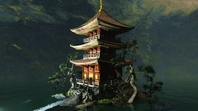 Buddhist temple in mountains Royalty Free Stock Photos